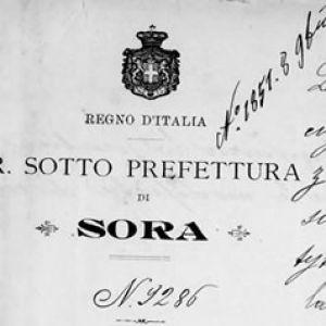 Delibera Prefettura di Sora 26.9.1901